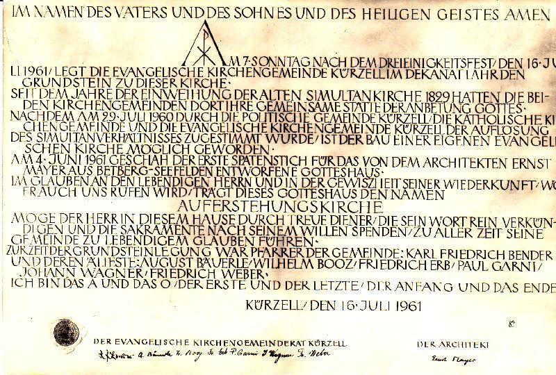 Grundstein-Urkunde
